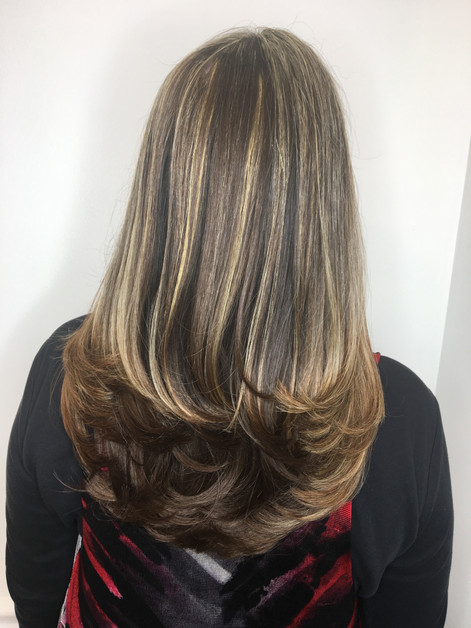 Long layered hair cut and style, highlights by Lisa Gordon