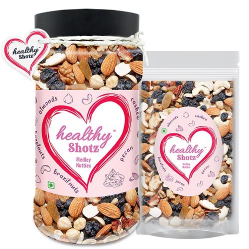 Medley Nutties Combo | Brazil Nuts, Pista & Black Raisin Combo Mixed Seeds