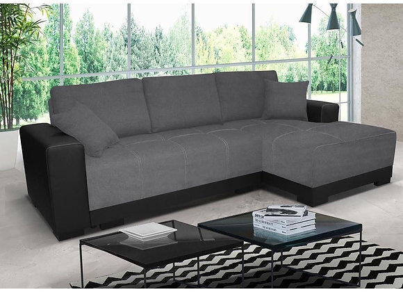 Cimiano Fabric & Faux Leather Corner Sofabed with Storage