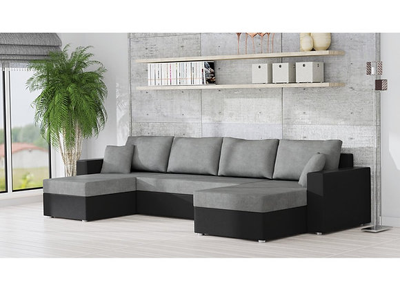 Rumba Fabric & Faux Leather Universal Corner Sofabed