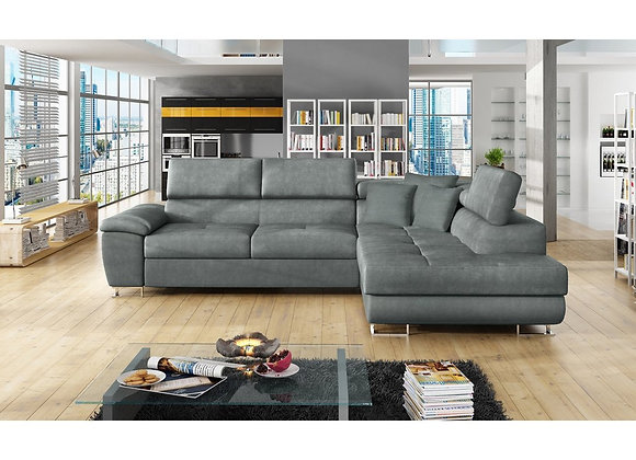 Anton Fabric & Faux Leather Sofabed with Moveable headrests