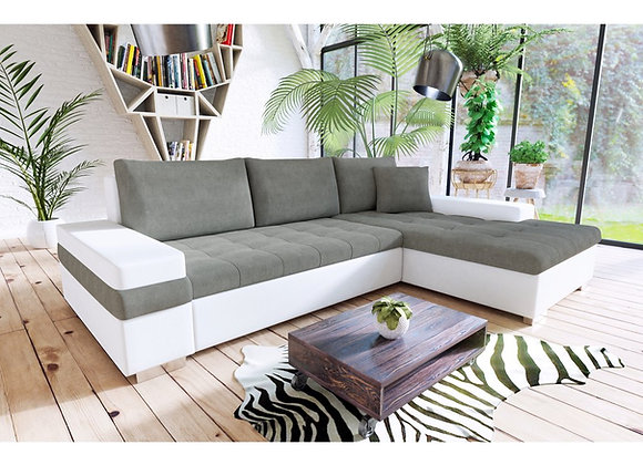 Bangkok Fabric & Faux Leather Corner Sofabed with Storage