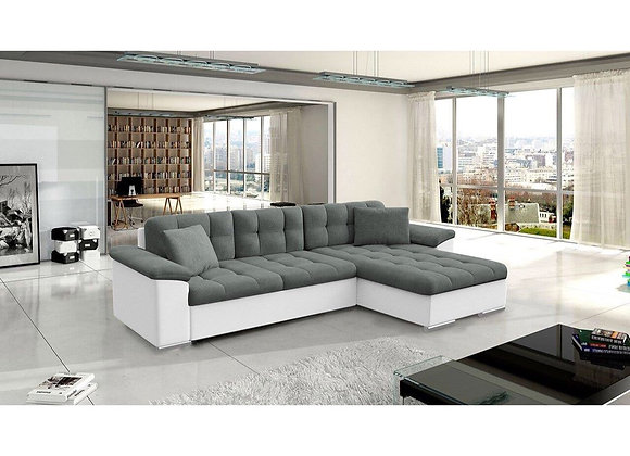 Avellino Fabric & Faux Leather Corner Sofabed with Storage