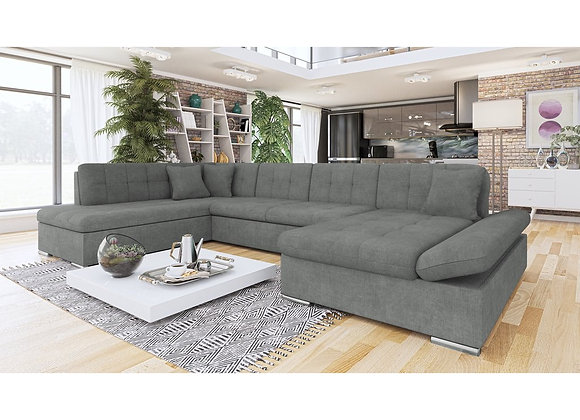 Bergen Fabric & Faux Leather Corner Sofabed with Storage