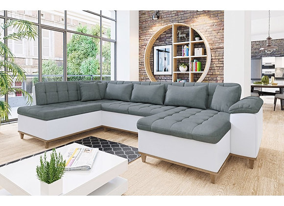 Nikos Fabric & Faux Leather Sofabed with Storage
