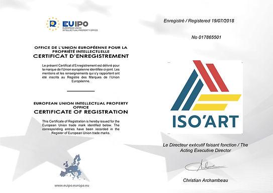 Certificat d'enrigestrement ISO'ART_Page