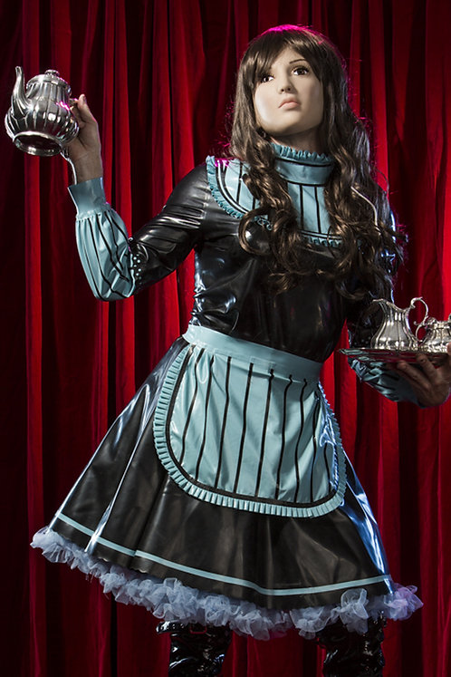 Latex Bleu Sissy Maid Dress