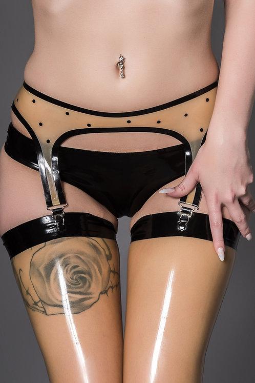 Latex Polka Dot Suspender Belt