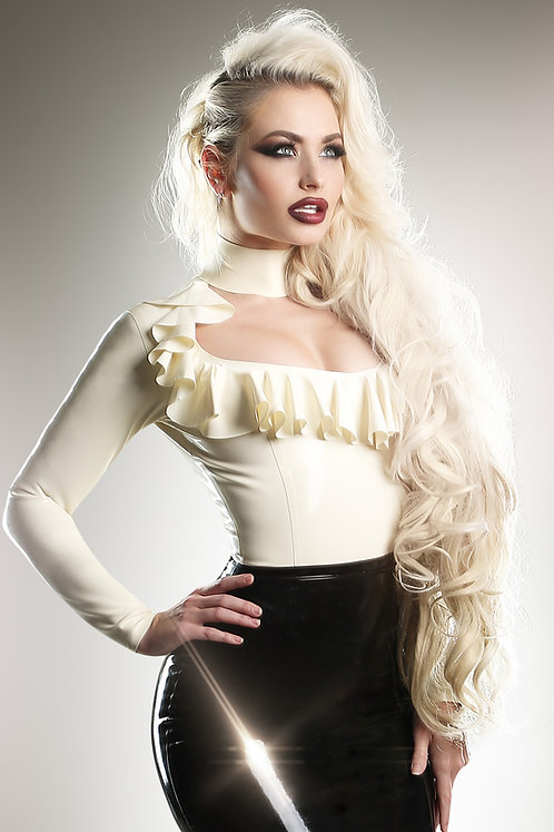 Latex Ruffle Blouse
