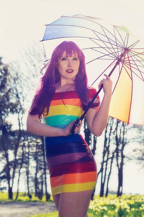 Latex Mini Rainbow Dress