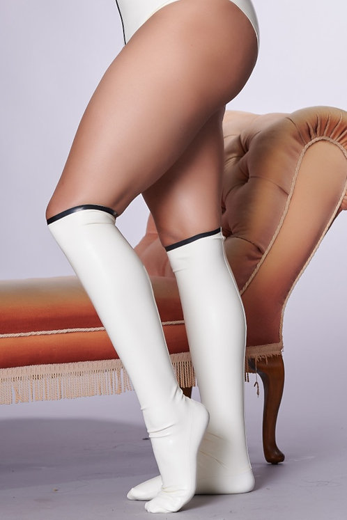 Latex Knee Highs with Feet