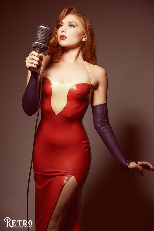 Latex Jessica Rabbit inspired dress