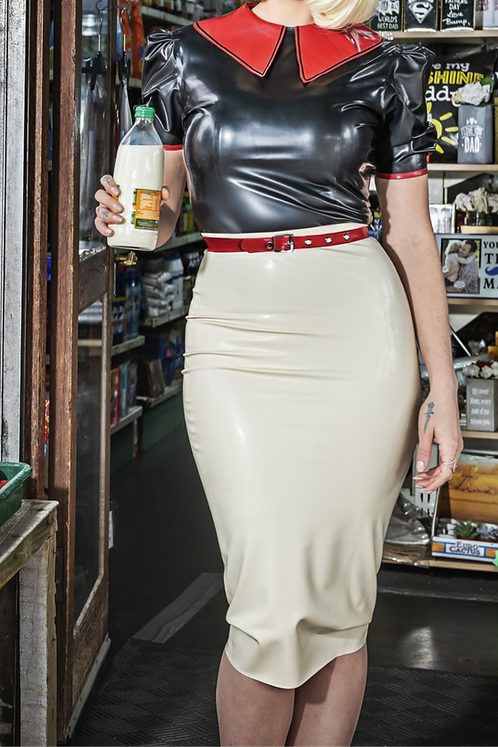 Latex After Glow Long Pencil Skirt