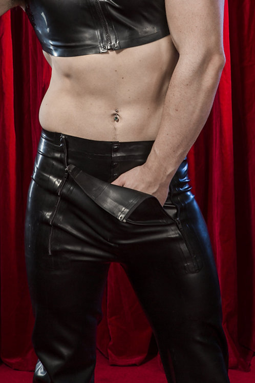 Latex Zip Front Trousers