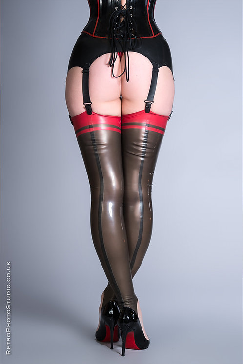 Latex Striped Stockings