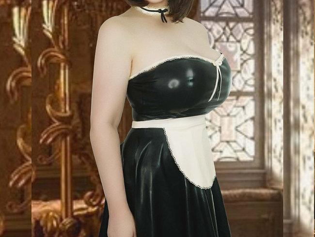 Latex Mini French Maid Dress