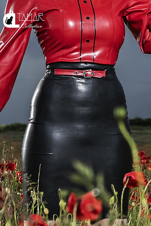 Latex You Better Work Skirt with Faux Belt