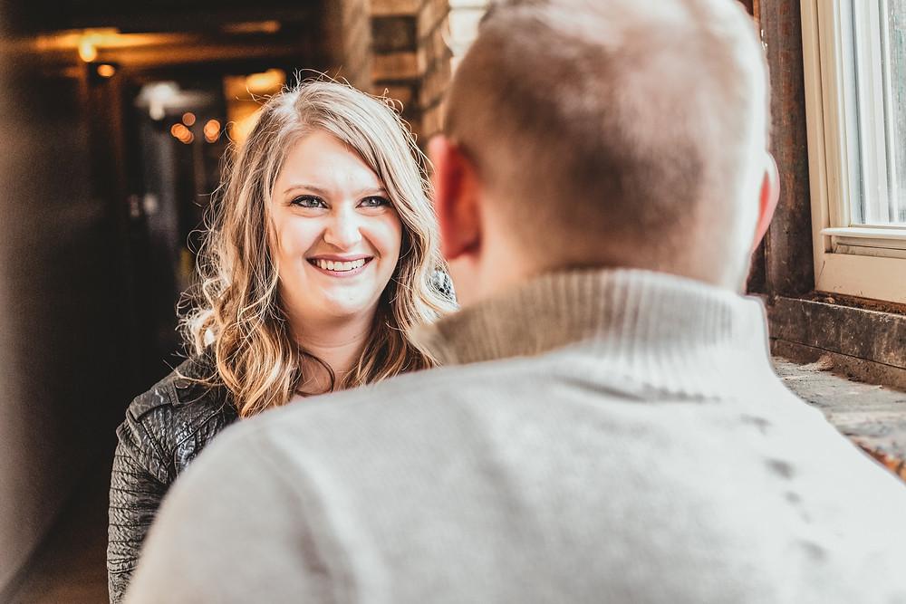 Coffee shop. Coffee shop engagement. Minot weddings. North Dakota Weddings.