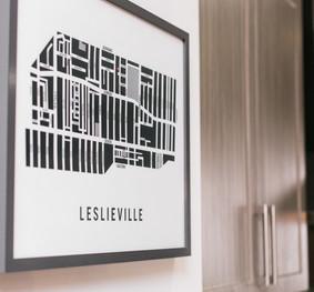 Framed Leslieville Map Hanging