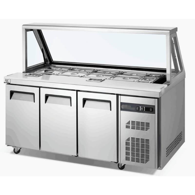 Prep fridge 10 bin cutting board setup