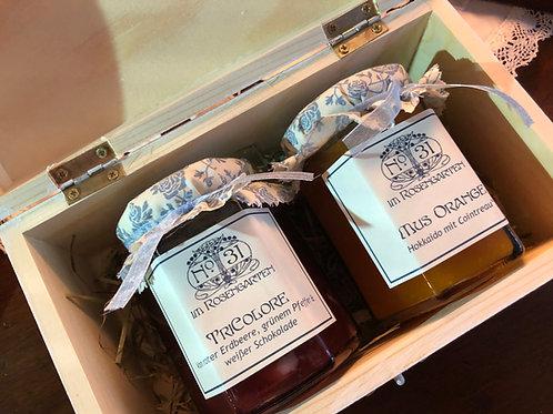Großes Geschenkset: Holztruhe mit 2 Gelees oder Marmeladen