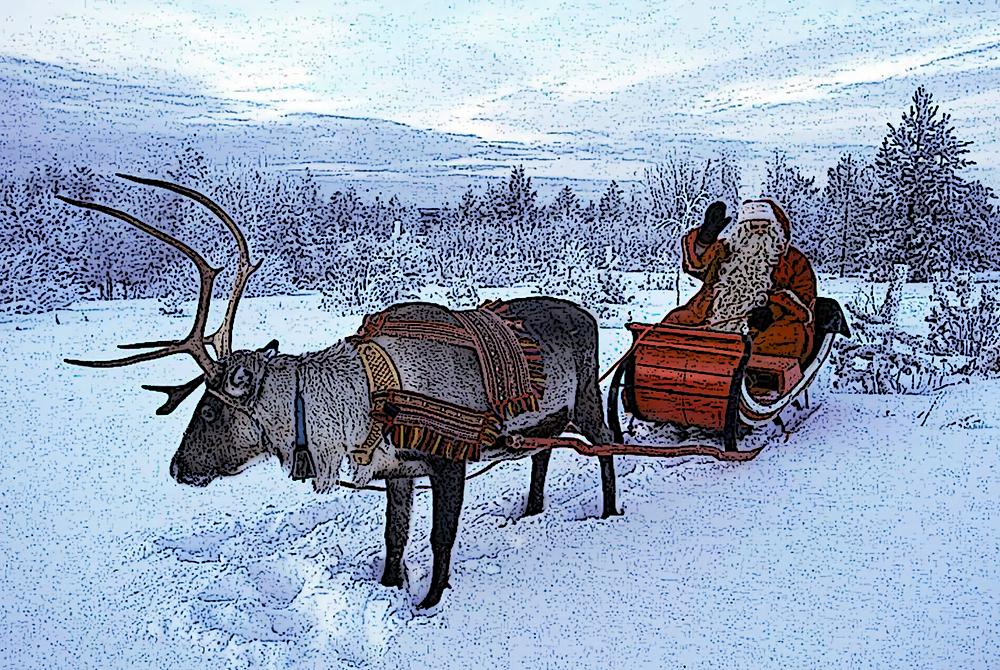 Santa Claus Father Christmas reindeer Rentier Weihnachtsmann St. Nikolaus