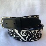 Finished needlepoint belt in black leath