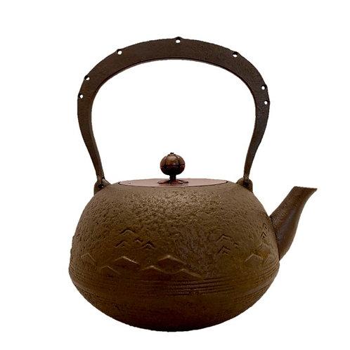 鉄瓶 平丸型 波紋肌(唐銅蓋) 1.7L