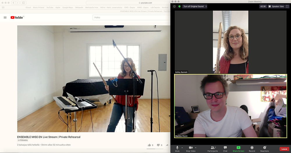Rehearsals via Zoom for the US premiere of aura with Kelley Barnett.