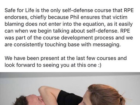 """Safe For Life is the only self-defense course that RPE endorses..."""