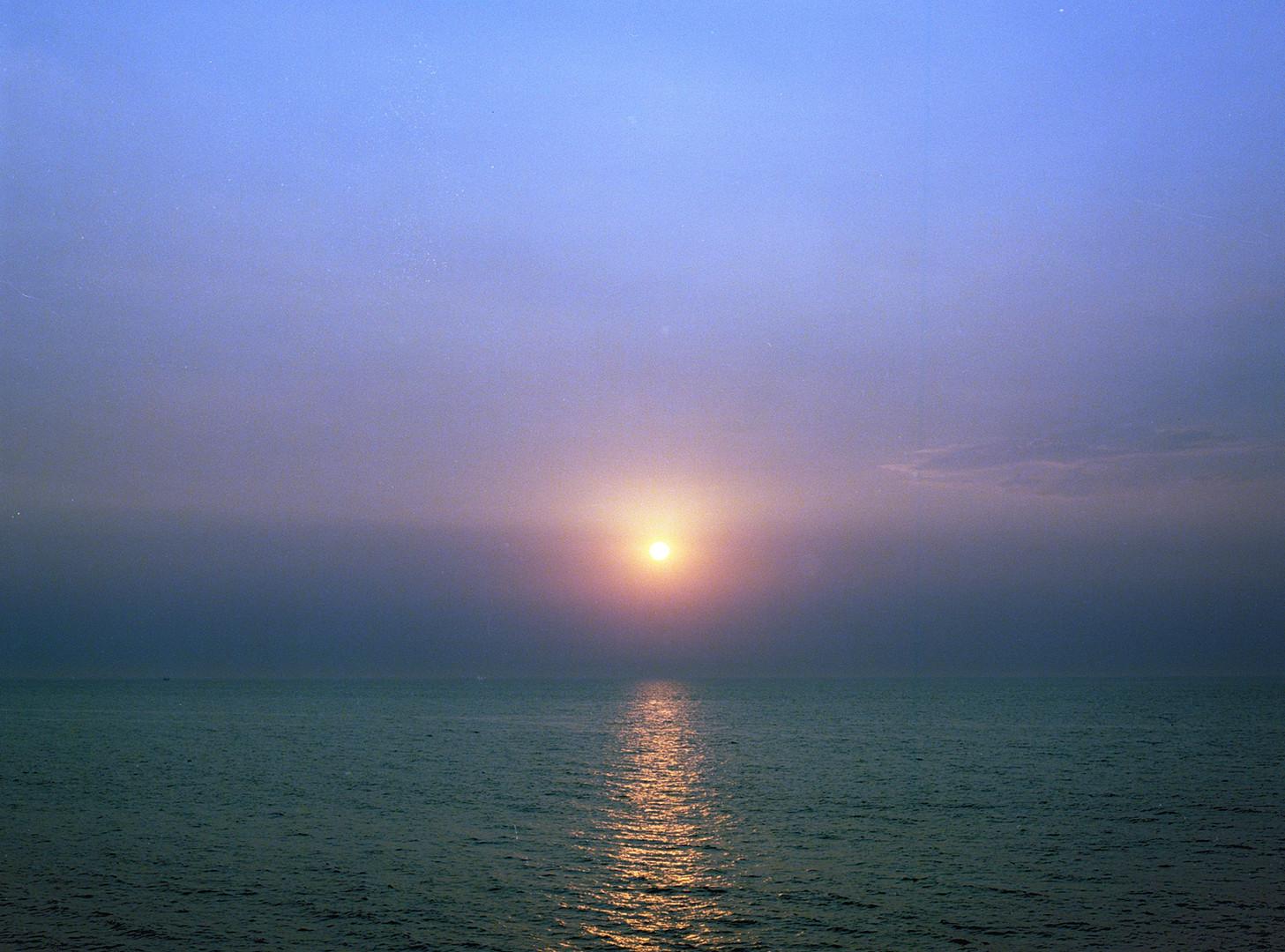 Moon over the Mediterranean sea