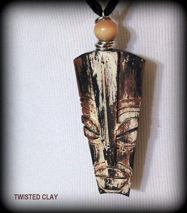 Polymer Clay Mask Necklace Black 1