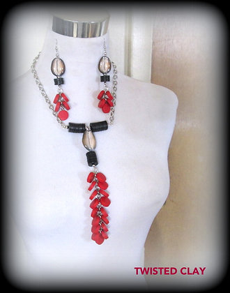 Polymer Clay Neckalce Set RED COINS