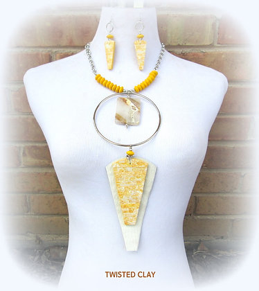 Polymer Clay Necklace Set LEMON ARROWHEAD