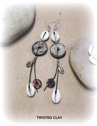 Polymer Clay Cowrie Shell Earrings 16