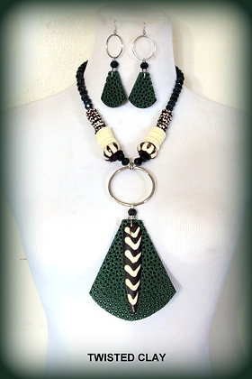 Polymer Clay Necklace Set GREEN TRIBE