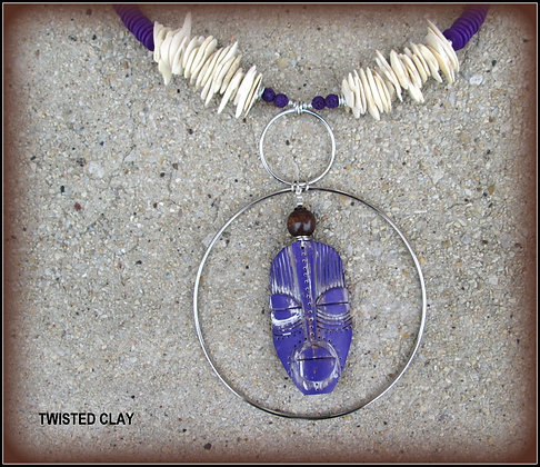 Polymer Clay Mask Necklace Purple 3