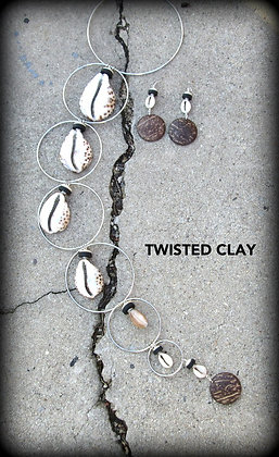 Polymer Clay Necklace Set BIG COWRIE SHELLS #11