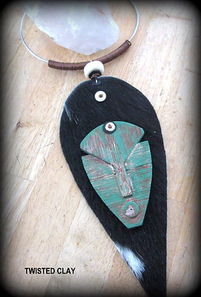 Polymer Clay Mask Necklace Green 2