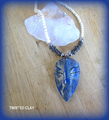 Polymer Clay Mask Necklace Blue 3