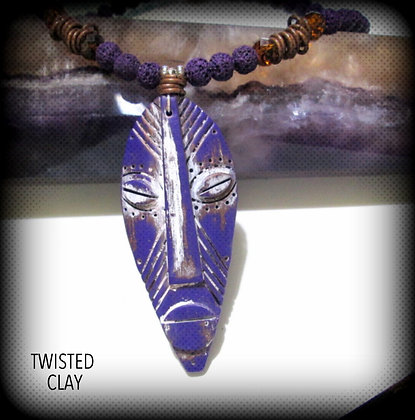 Polymer Clay Mask Necklace Purple 1