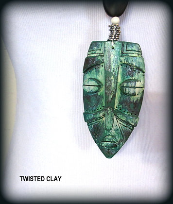 Polymer Clay Mask Necklace Green 3