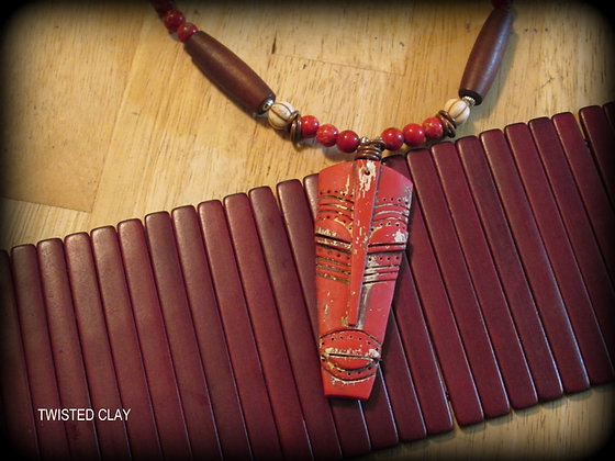 Polymer Clay Mask Necklace Red 1