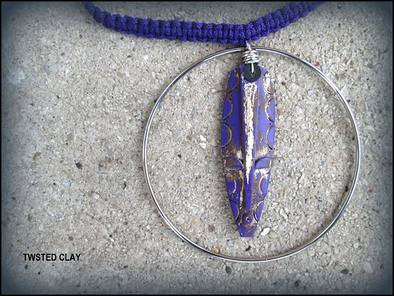 Polymer Clay Mask Necklace Purple 2