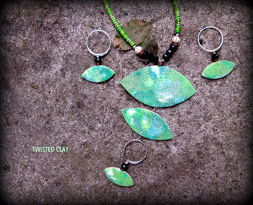 Polymer Clay Necklace Set MOSS