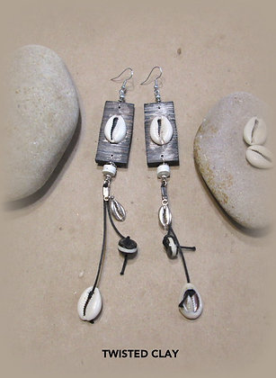 Polymer Clay Cowrie Shell Earrings 4