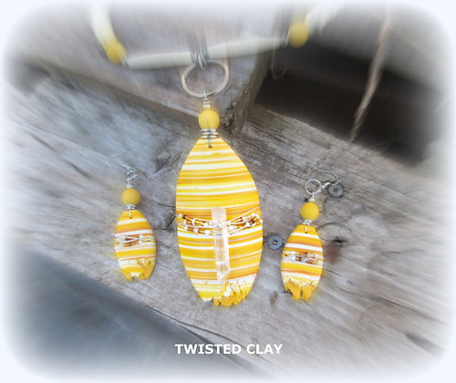 Polymer Clay Necklace Set TANGLED LEMON