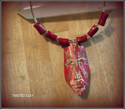 Polymer Clay Mask Necklace Red 2