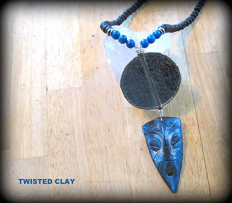 Polymer Clay Mask Necklace Blue 1
