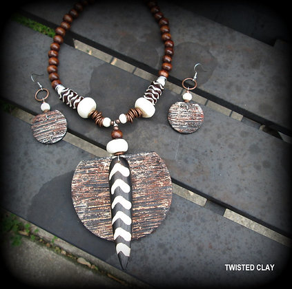Polymer Clay Necklace Set WOOD N BONES